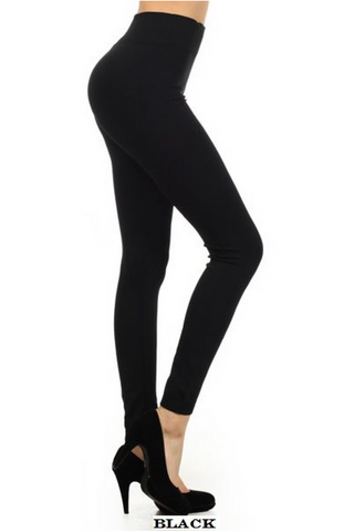 "Basic Black Leggings 3"" Waistband"
