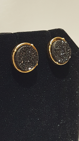 Black Druzy Circle Stud Earrings on Gold Metal