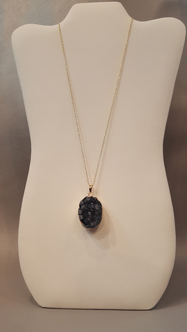 Oval Black Druzy Stone Necklace