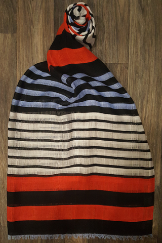 Black, Red, Light Blue & White Striped Scarf