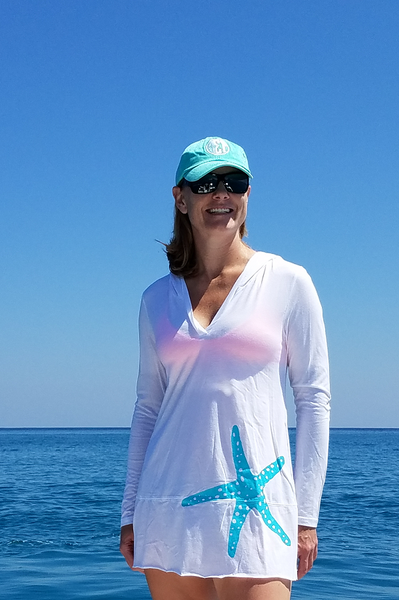 Bristol Beach Coverup White with Aqua Starfish - Shoppin with Sailin