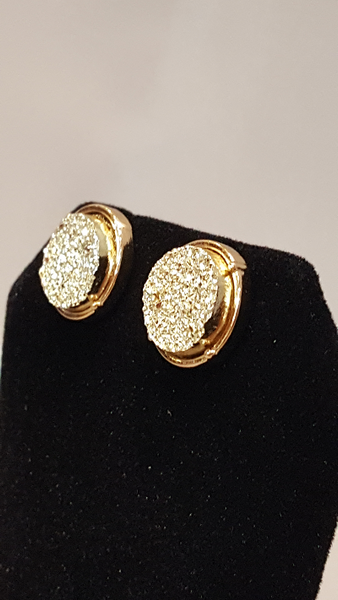 Gold Druzy Circle Stud Earrings on Gold Metal - Shoppin with Sailin