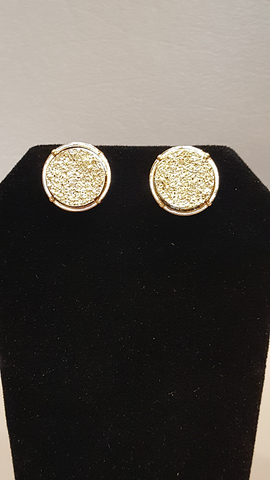 Gold Druzy Circle Stud Earrings on Gold Metal