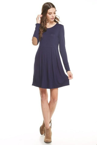 Navy Pleated Dress with Suede Elbow Patches
