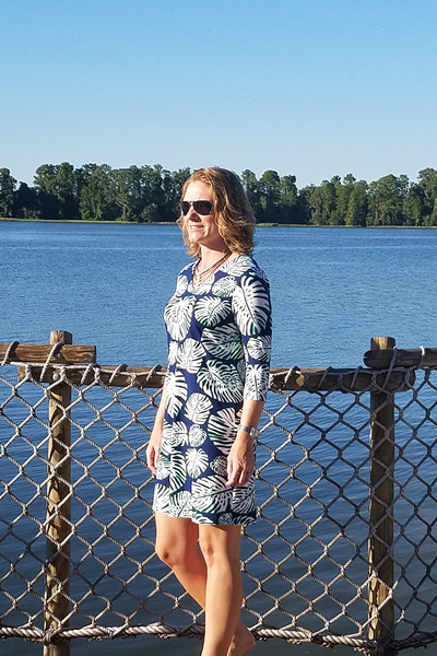 Floridian Navy Banana Leaf 3/4 Sleeve Dress