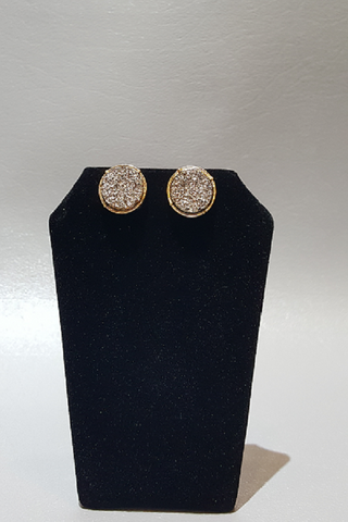 Hematite Druzy Circle Stud Earrings on Gold Metal
