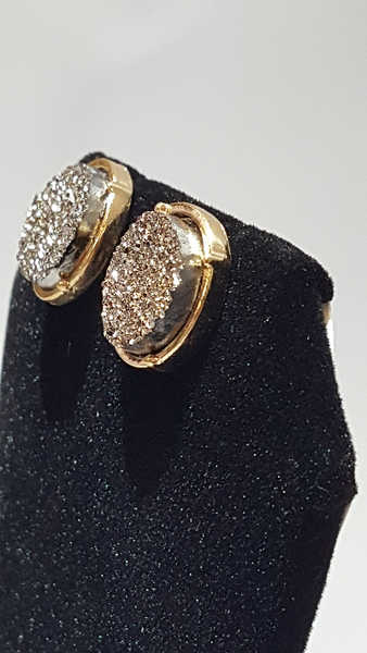 Hematite Druzy Circle Stud Earrings on Gold Metal - Shoppin with Sailin