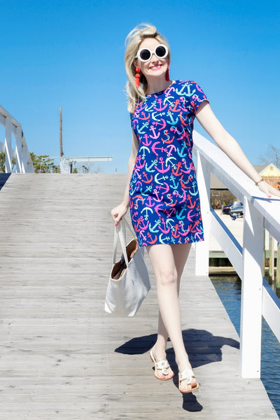 Anchor Print Tee Shirt Dress
