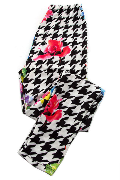 Houndstooth Floral Leggings - Shoppin with Sailin
