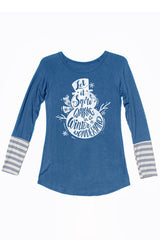 Let It Snow Walking In a Winter Wonderland Long Sleeve Teal Blue Shirt