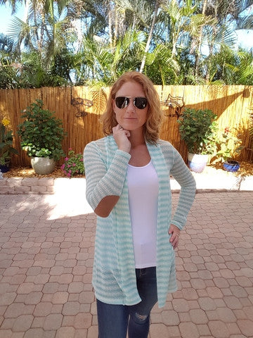 Mint Green Striped Cardigan with Suede Elbow Patches - Shoppin with Sailin