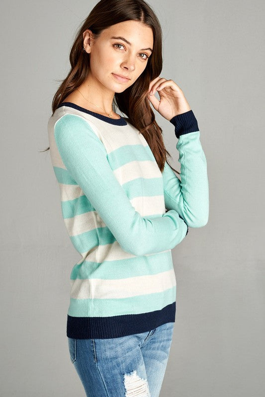 Mint & White Long Sleeve Crew Neck Sweater - Shoppin with Sailin
