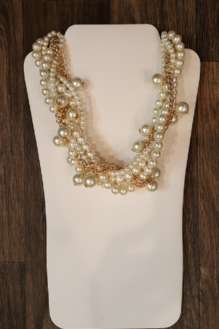 Multi Strand Pearls & Gold Chain Necklace