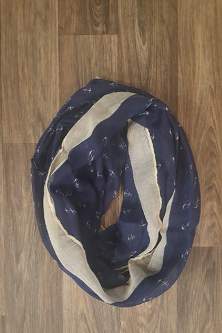 Navy Infinity Scarf with White Anchors and Border - Shoppin with Sailin
