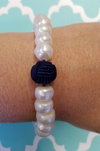 Navy Nautical Knot Pearl Bracelet
