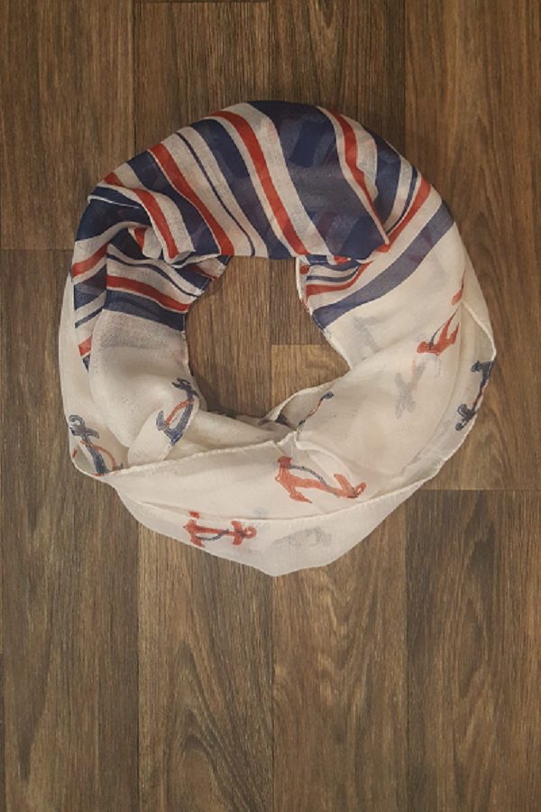 Navy & Red Anchors & Stripes Infinity Scarf - Shoppin with Sailin