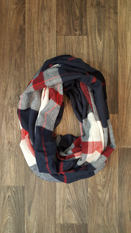Navy, Red & White Plaid Infinity Scarf