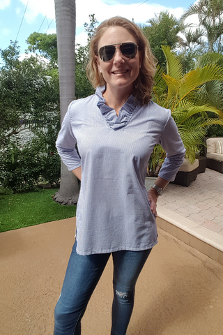 Parker Tunic in Navy Blue Seersucker