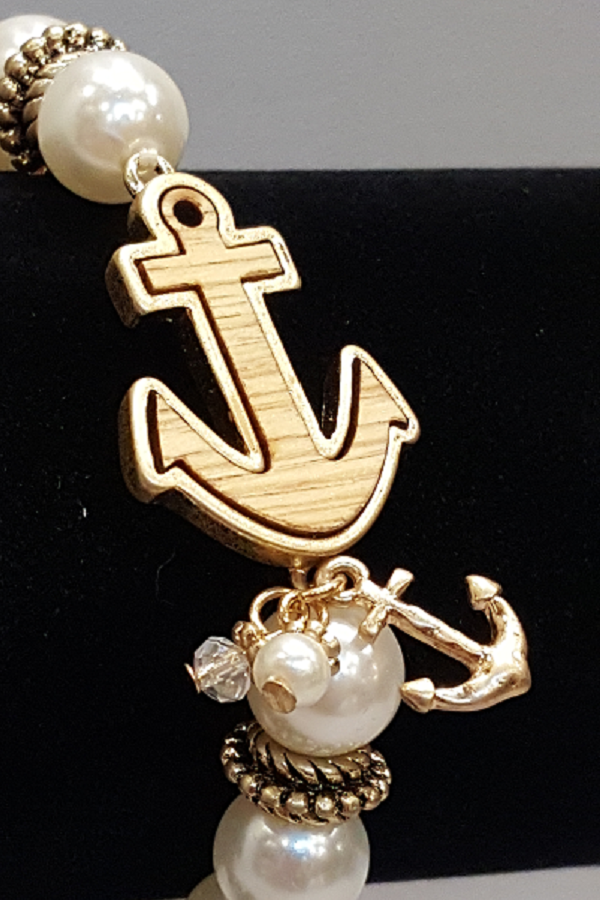 Pearl Beaded Bracelet with Wooden Anchor & Anchor Charm - Shoppin with Sailin