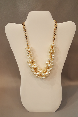 "Pearl Cluster Dangle Necklace on 18"" Gold Chain - Shoppin with Sailin"