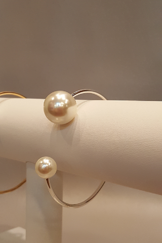 Pearl End on Silver Cuff Bracelet - Shoppin with Sailin