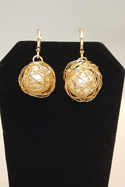 Pearls Wrapped in Gold Wire Dangle Earrings - Shoppin with Sailin