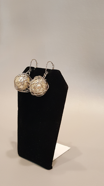Pearls Wrapped in Silver Wire Dangle Earrings - Shoppin with Sailin