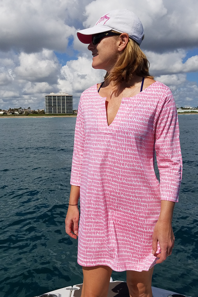 Pretty in Pink Tunic Dress with 3/4 Sleeves