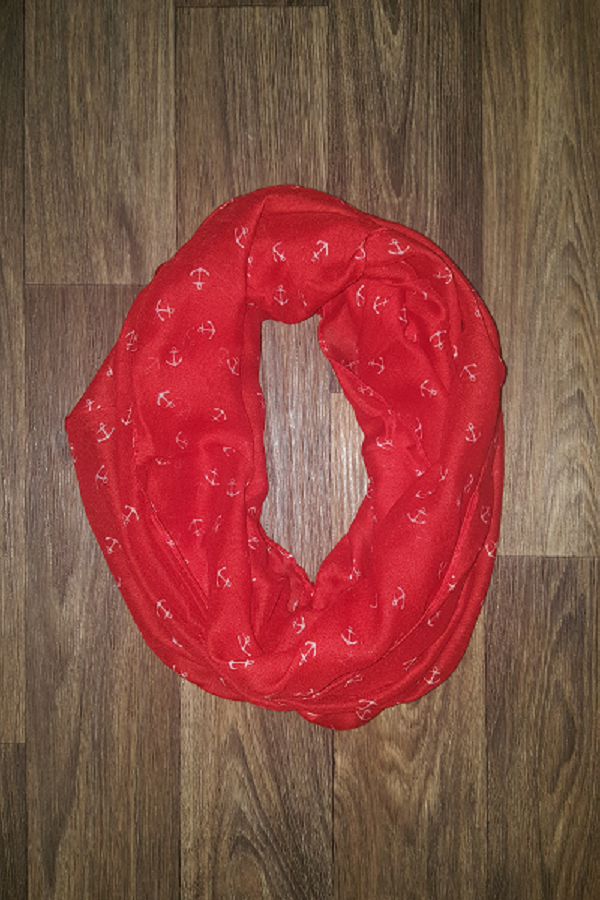 Red Infinity Scarf with White Anchors - Shoppin with Sailin