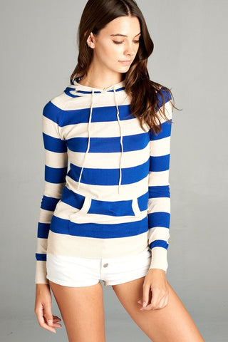 Royal Blue & Off White Striped Hoodie Sweater