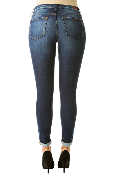 Skinny Jeans with Stretch - Dark Wash, Slightly Distressed - Shoppin with Sailin
