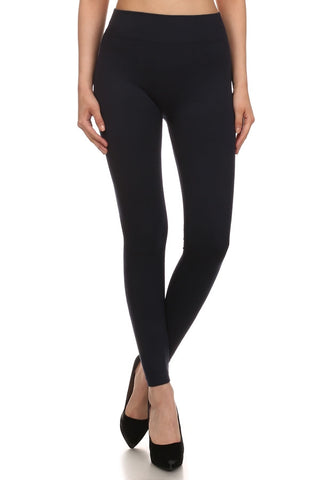Solid Black French Terry Leggings