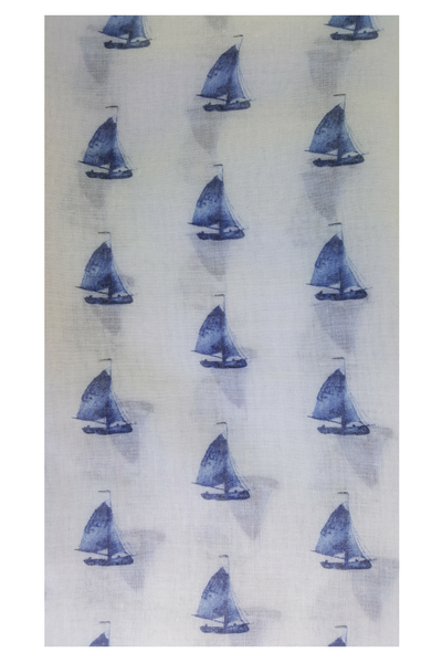 White Scarf with Blue Sailboats - Shoppin with Sailin