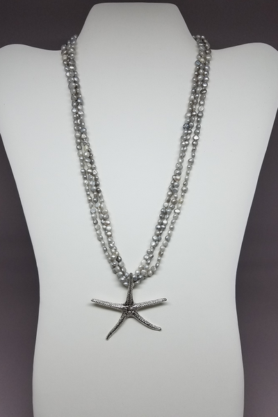 Sandy Point Starfish Grey Pearl Necklace