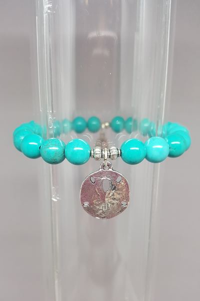 Savvy Designs Sand Dollar Charm Bracelet Turquoise