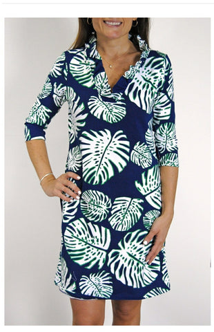 Haley and the Hound Floridian Parker Navy Banana Leaf 3/4 Sleeve Dress with Ruffled Collar