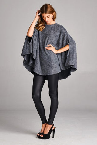 Circle Charcoal Grey Poncho