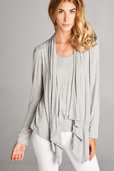 Heather Grey Long Sleeve Cardigan Top with Draped Lapels - Shoppin with Sailin