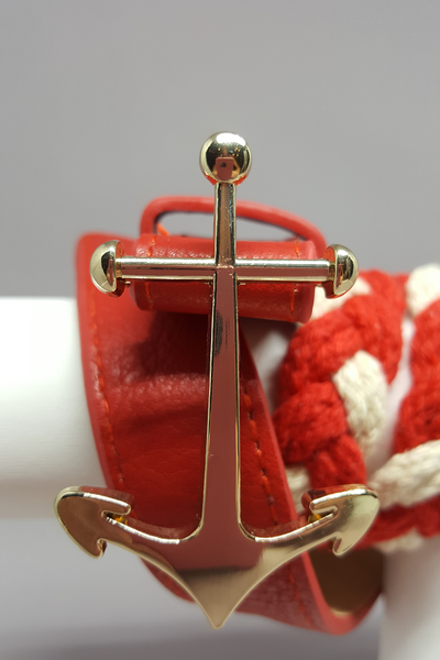 Timeless Red & White Braided Belt with Anchor Buckle - Shoppin with Sailin