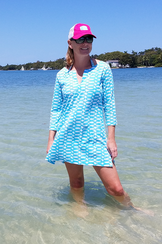 Turquoise Tunic Dress with 3/4 Sleeves