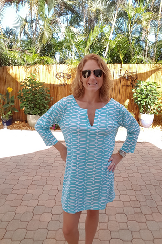 Turquoise Tunic Knit Dress with 3/4 Sleeves
