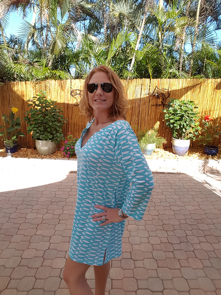 Turquoise Tunic Dress with 3/4 Sleeves - Shoppin with Sailin
