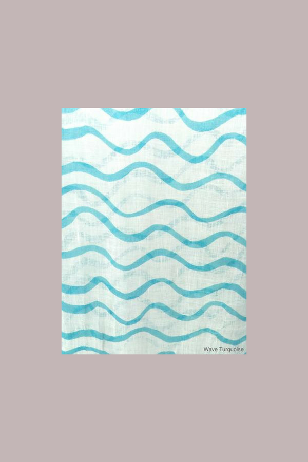 Turquoise Waves Linen Scarf - Shoppin with Sailin