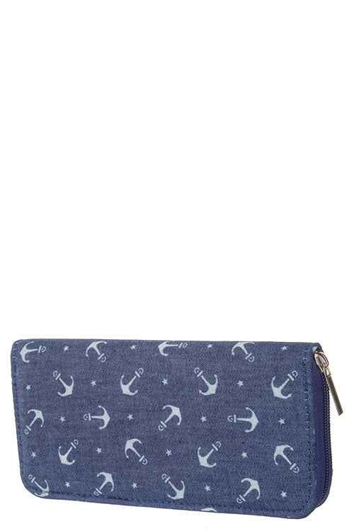 Navy Denim & White Anchor Wallet - Shoppin with Sailin