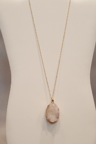 "Oval White Druzy Stone on 28"" Gold Chain Necklace"