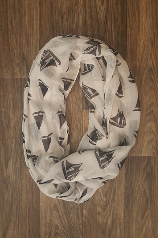 White Infinity Scarf with Black Sailboats - Shoppin with Sailin