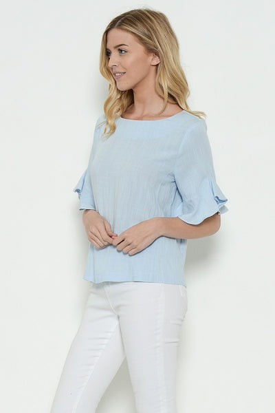 The Sky's the Limit Blue Ruffled Sleeve Top - Shoppin with Sailin