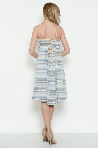 Striped Blue Dress with Nautical Rope Lace Up Back Straps - Shoppin with Sailin