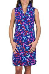 Anchor Print Parker Sleeveless Dress with Ruffled Neckline - Shoppin with Sailin