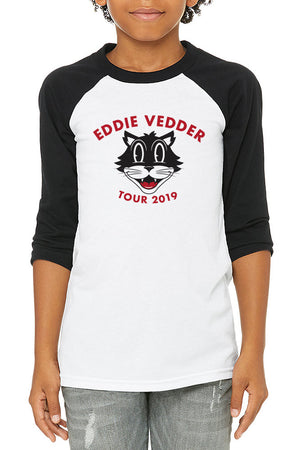 Eddie Vedder Cat Head Kids Raglan Tee White/Black
